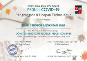Piagam Penghargaan dari Komite Medik RSUD Kota Bogor kepada Alumni SMA 1 BOGOR Angkatan 1986